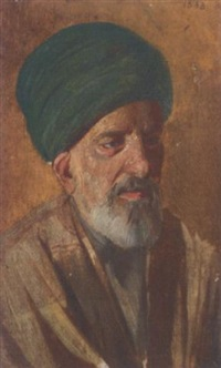 portrait of an arab in traditional dress by cesare biseo
