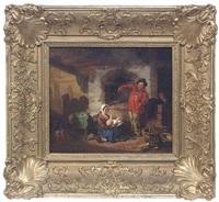 bauernfamilie in rustikalem interieur by august von rentzell