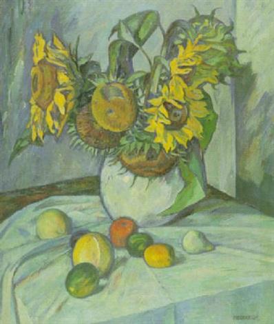 stilleben mit sonnenblumen und früchten by jupp oberboersch