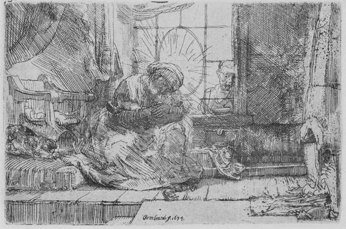 sacra famiglia con il gatto e il serpente by rembrandt van rijn