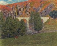 bjerglandskab med bro over en flod by eugene alluaud