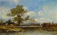 sommertag auf dem land mit weidenden kühen, malerischem baum und gehöft in flusslandschaft by leon victor dupré