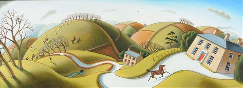 bolting home rider less horse approaching a house the hunt in the distance by jonathan wade