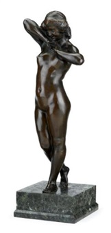 standing nude young woman by juan clara