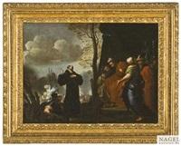 ein heiliger mönch disputiert mit einem könig und seinem gefolge, im hintergrund schlachtenszene by luigi garzi