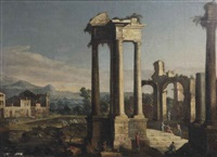 a capriccio view of a forum with horsemen, travellers and other figures amongst classical ruins by hendrick frans van lint