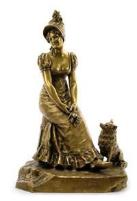 sitzende dame mit hund by gustavo obiols delgado