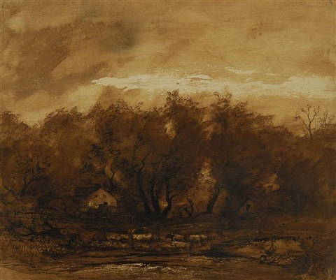 landscape with grazing cattle by charles henry miller