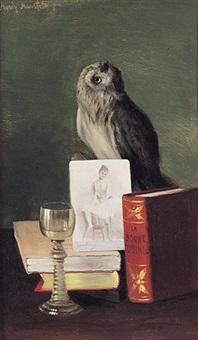 stilleben mit eule, weinglas, photo einer ballerina und kochbuch by moritz mansfeld