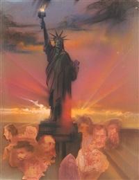 statue of liberty (color) by hiro yamagata