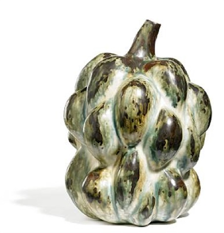 fruit shaped vase modelled in sprouting style and with narrow mouth by axel johann salto