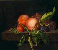 stillleben mit einem pfirsich und pflaumen by paul liegeois