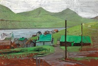 landscape with a village, the faroe islands by joannis kristiansen