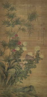 bamboo and flowers by jiang pu