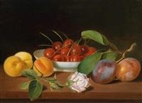 ein früchtestillleben mit kirschen, pfirsichen und zwetschgen by justus juncker