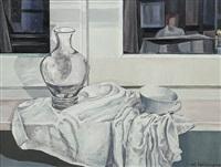 stilleben mit glasvase und tasse auf der fensterbank by michaela krinner