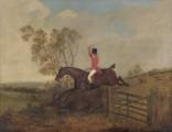huntsman on horseback jumping a gate, other riders in the distance by dean wolstenholme the younger
