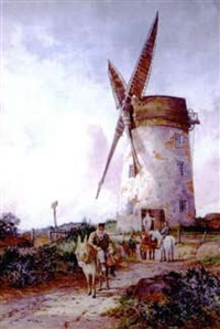 figures, horses, and a donkey before a windmill by robert dobson