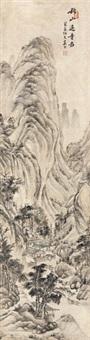 秋山远寺 立轴 纸本 by xi gang