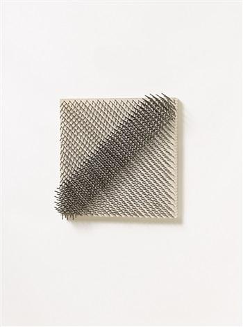 diagonale struktur aus der serie parallelstrukturen by günther uecker