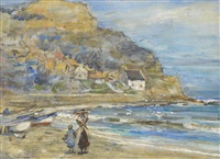 figures on the beach at runswick bay by rowland henry hill