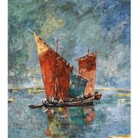 segelschiffe auf ruhiger see by walter krebs