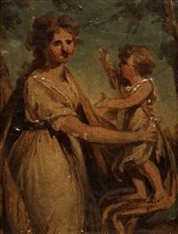 baroness anna catharina hamilton, born adelheim (1778-1814) an her son malkolm fredrik hamilton (1797-1816) by carl fredrik van breda