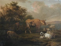 cattle and sheep in a landscape, with a peasant by jacob van der does the elder