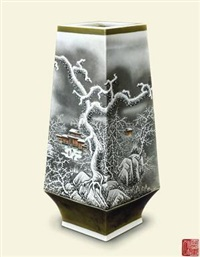 粉彩《山舍冬日》四方瓶 (square vase mountain house in winter) by jiang chongyan
