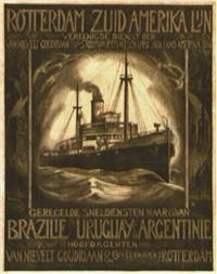 rotterdam zuid amerika lijn vereenigde dienst der van nievelt goudriaan & stoomvaartmaatschapppij en holland amerika lijn by posters: advertising