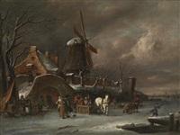 winterlandschaft mit eisläufern und pferdeschlitten vor einem dorf by jacobus storck
