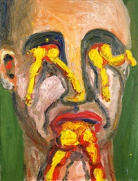 portrait with yellow by george condo