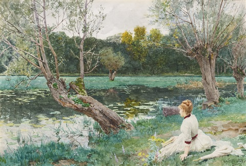 JEUNE FILLE AU BORD DE LÉTANG by Louis Emile Adan on artnet