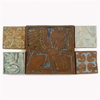 five tiles (from evangelical series) by batchelder tiles