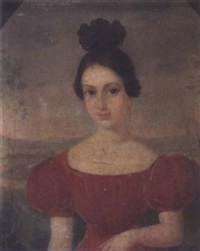 portrait of a woman in red dress by american school-louisiana (19)