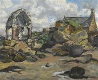 französische landschaft mit kapelle und kirche by edouard-georges mac-avoy