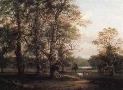 cattle in a wooded parkland by jane nasmyth