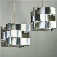 pair of pendant fixtures by max sauze
