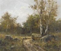birkenwaldpartie mit zwei reisigsammlerinnen by c. lion