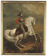 portrait of leopold i, king of the belgians, on a grey charger by george dawe