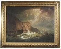 segelboote in stürmischer see vor einer steilküste by johann baptist weiss
