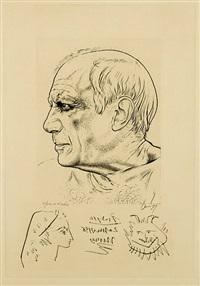 portrait de pablo picasso et remarque pour témoignage by jean cocteua by paul p. lemagny and pablo picasso