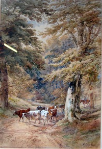 cattle on a path with horse and rider by henry (sr.) earp