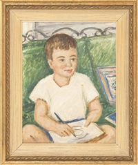 portrait of a young boy painting by waldo peirce