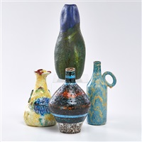 bottle shaped vases (4 works) by marcello fantoni