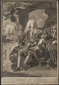 samuel bernard. chevalier del'ordre de st. michel, comte de coubert (after hyacinthe rigaud) by pierre-imbert drevet