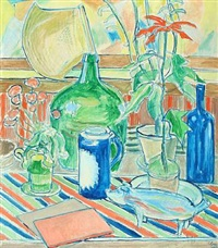 still life with bottles and plants on striped tablecloth by christine swane