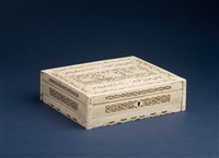 prisioner of war carved ivory card box by joann de la rez