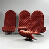 system 1-2-3 a set of four high-backed easy chairs by verner panton