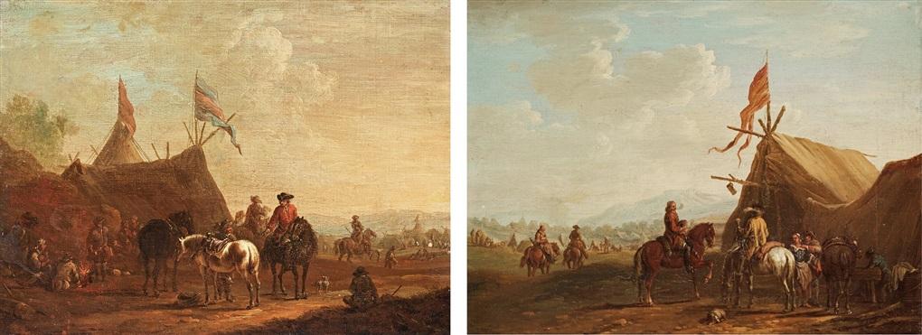 field camp with troops pair by robert van den hoecke